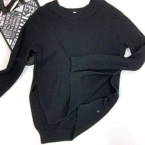 Lululemon Seva Black Merino Wool Sweater Sz M